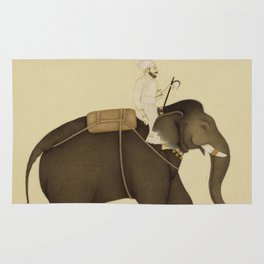 Mahout Riding an Elephant Painting (18th Century) Rug