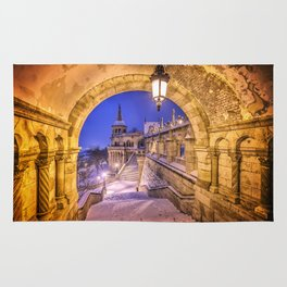 Snowy winter morning at the Fisherman's Bastion in Budapest Rug