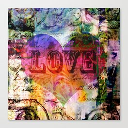 vintage LOVE heart Canvas Print