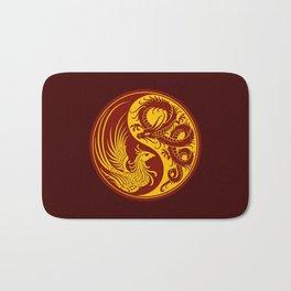 Yellow and Red Dragon Phoenix Yin Yang Bath Mat