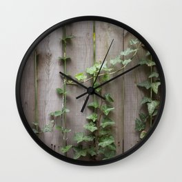 Vines on Wooden Fence Wall Clock