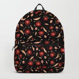 Walk in a Poppy Field, Black & Green Watercolor amongst Red Poppies , Flowers, Leaves & Seedpods Backpack