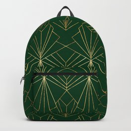 Art Deco in Gold & Green Backpack