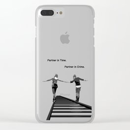 Partner in Time, Partner in Crime, Max Caulfield and Chloe Price Train Tracks Clear iPhone Case