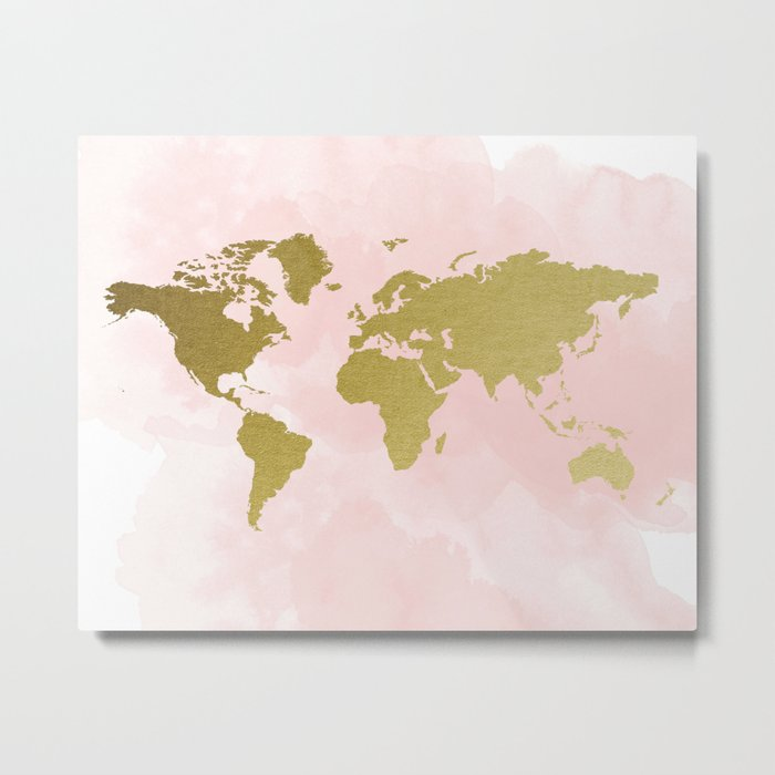 Gold world map poster metal print by peachandgold society6 gumiabroncs Choice Image
