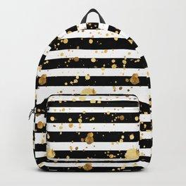Stripes & Gold Splatter - Horizontal Backpack