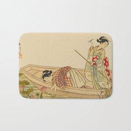 Women Gathering Lotus Blossoms Bath Mat