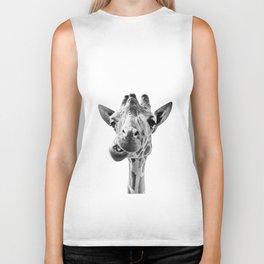 Giraffe Portrait Black and White Biker Tank