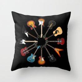 Guitar Circle Throw Pillow