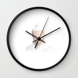 Buddha In White | Serene Meditative And Calm Wall Clock