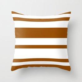 Mixed Horizontal Stripes - White and Brown Throw Pillow