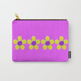 Spring Daisies Jelly Art - Lavender Yellow Pink Carry-All Pouch
