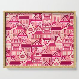 Pink Little Town Serving Tray