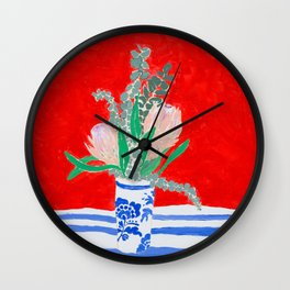 Protea Still Life in Red and Delft Blue Wall Clock