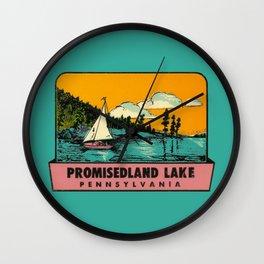 Vintage Retro Camping Promisedland Wanderlust Wall Clock