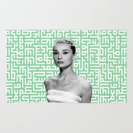 audrey with arabic calligraphy background Rug
