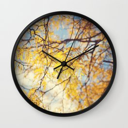 Gold Leaves and Blue Sky Wall Clock