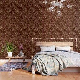 Iberian Lynx pattern Red Wallpaper