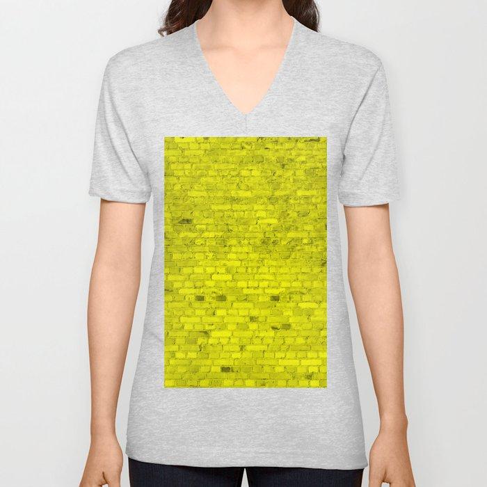 Bright Neon Yellow Brick Wall Unisex V-Neck