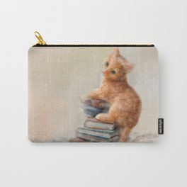 Cute cat standing on stack of books. Oil painting. Carry-All Pouch