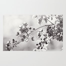 Black and White Floral Photography, Grey Neutral Nature Art, Light Gray Botanical Flower Photo Rug