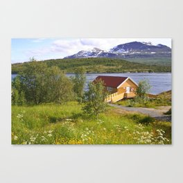 house on a fjord Canvas Print