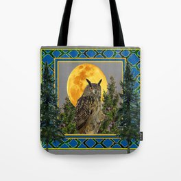 WILDERNESS OWL WITH FULL MOON PINE TREES Tote Bag