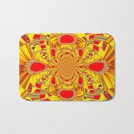 RED & YELLOW GEOMETRICAL-OPTICAL ART Bath Mat