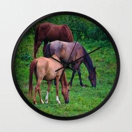 Grazing Horses Wall Clock