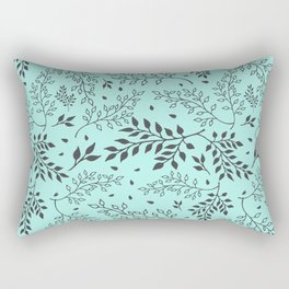 Leaves Illustrated Mint Rectangular Pillow