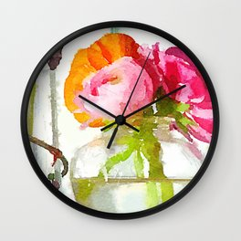 Pink and Orange Ranunculus Flower Bouquet Still Life Water Color from photo fine art print Wall Clock