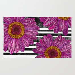 Pink Ink Flowers on Black & White Stripes Rug