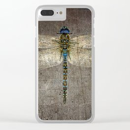 Dragonfly On Distressed Metallic Grey Background Clear iPhone Case