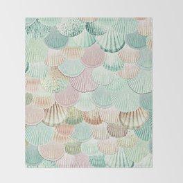 MERMAID SHELLS - MINT & ROSEGOLD Throw Blanket