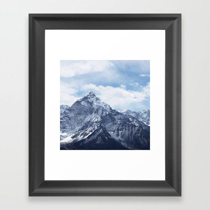 Snowy Mountain Peaks Framed Art Print