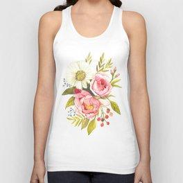 Vintage Watercolor print with Blooming Flowers. Roses, Wildflowers and Peonies Unisex Tank Top
