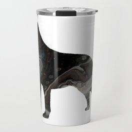 Labrador Retriever Black Fluid Abstract Art - Lab Image Travel Mug
