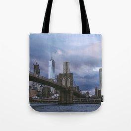 Moody views of the Brooklyn Bridge Tote Bag