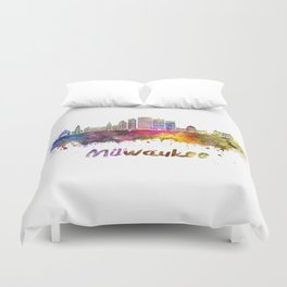 Milwaukee V2  skyline in watercolor Duvet Cover