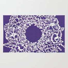 White Flowery Linocut Wreath On Checked UltraViolet Rug