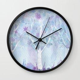 Dreamy Blue Flower Trees Wall Clock