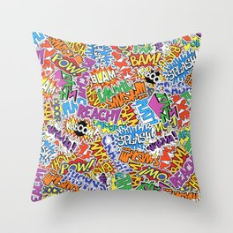 Comic Madness Throw Pillow
