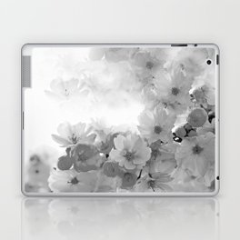 CHERRY BLOSSOMS GRAY AND WHITE Laptop & iPad Skin