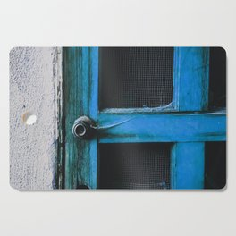closeup old blue vintage wood door texture background Cutting Board