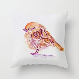 Little Purple Brown Sparrow watercolor by CheyAnne Sexton Throw Pillow
