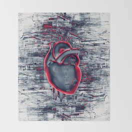 Gamer Heart BLUE CRIMSON / 3D render of mechanical heart Throw Blanket