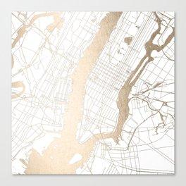 New York City White on Gold Canvas Print