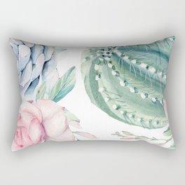 Cactus Rose Succulents Garden Rectangular Pillow
