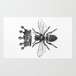 Queen Bee | Black and White Rug