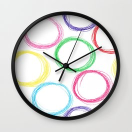 Seamless pattern background with colored pencil circles Wall Clock